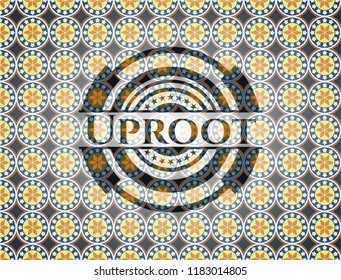 Uproot arabic badge. Arabesque decoration.