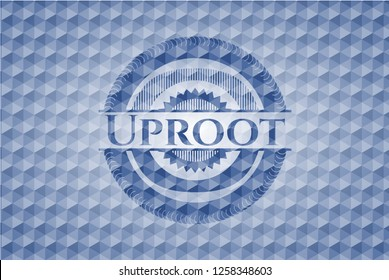 Uproot blue emblem with geometric pattern background.