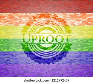 Uproot emblem on mosaic background with the colors of the LGBT flag