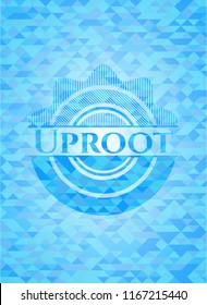 Uproot light blue emblem. Mosaic background