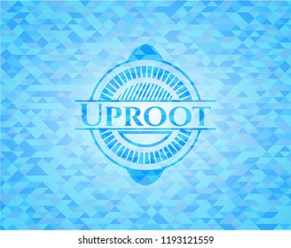 Uproot light blue emblem with mosaic background