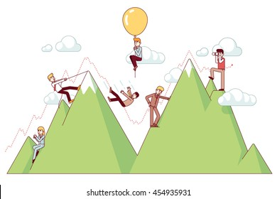 Ups and downs on a entrepreneur path of business concept. Businessman climbing trend mountains and risking capital. Modern flat style thin line vector illustration isolated on white background.