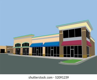 upscale commercial strip mall with beige tones and awnings