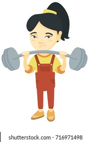 Upset asian child lifting a heavy weight barbell. Little sad girl in sportswear training with barbell. Girl trying to lift a barbell. Vector sketch cartoon illustration isolated on white background.