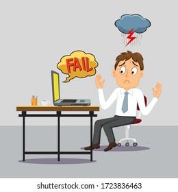 Upset Businessman Looks At Laptop Screen, illustration vector cartoon