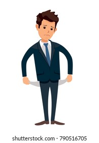 Upset businessman with no money, bankrupt.Poor man. Empty pockets . Frustrated, disappointed business man. Cartoon character. Stock vector illustration in flat design. Business concept