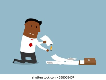 Upset cartoon businessman burning up paper and documents, contracts and invoices with matches. Document destruction theme concept