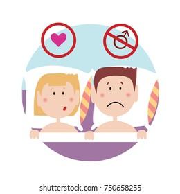 Upset couple lying in bad facig sexul problem. Isolated flat illustration on white backgroud. Cartoon vector image.