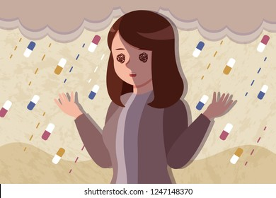 upset and depressed woman with drug addiction