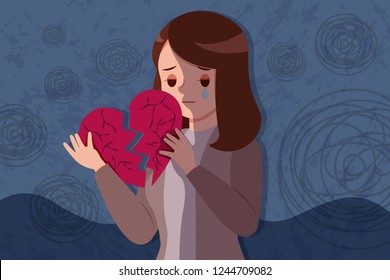 upset and depressed woman hold broken heart