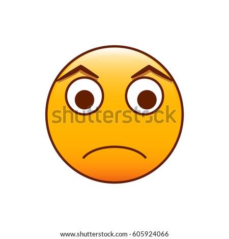 Upset Emoticon Vector Smiley Illustration Stock Vektorgrafik