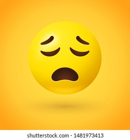 Upset face emoji with closed eyes, open frown, and raised eyebrows on yellow background