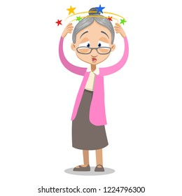 Upset grey haired grandma suffering from vertigo. Elderly woman standing and holding his head cartoon animated personage. Granny feeling dizzy vector illustration isolated on white background.
