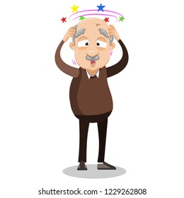 Upset grey haired grandpa suffering from vertigo. Elderly man standing and holding his head cartoon animated personage. Retired man feeling dizzy vector illustration isolated on white background.