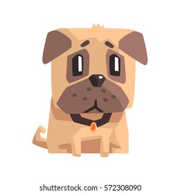 Upset Little Pet Pug Dog Puppy With Collar Emoji Cartoon Illustration
