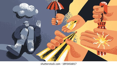 Upset man suffering from depression, refusing from helping hands and support offered by people. Concept of pessimism, aid rejection, losing hope and psychological problems. Flat vector illustration