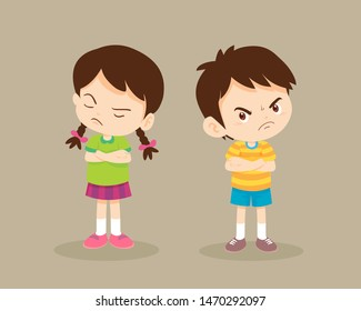 Upset student girl and boy.Angry upset kids standing back to back with crossed hands and looking extremely resolute