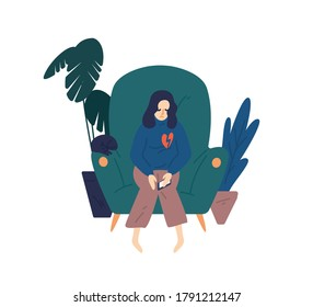 Upset woman with broken heart hold smartphone vector flat illustration. Heartbroken female sit on armchair have problem in relationship feeling hurt isolated. Depressed person see parting message
