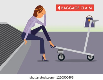 Upset woman waiting at luggage carousel for baggage lost by airline