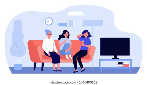 Upset women watching sad movie. Senior and young ladies sitting on couch at TV and crying flat vector illustration. Leisure time with family concept for banner, website design or landing web page