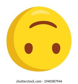 Upside Down Emoji Icon Illustration. Sarcasm Vector Symbol Emoticon Design Doodle Vector.