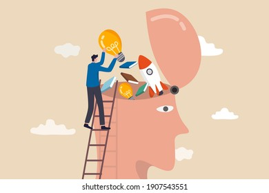 Upskill, learn new things or knowledge development for new skill and improve job qualification concept, man putting light bulb ideas, books and rocket booster into human head to upgrade working skill.