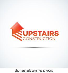 Upstairs construction logo template design. Vector illustration.