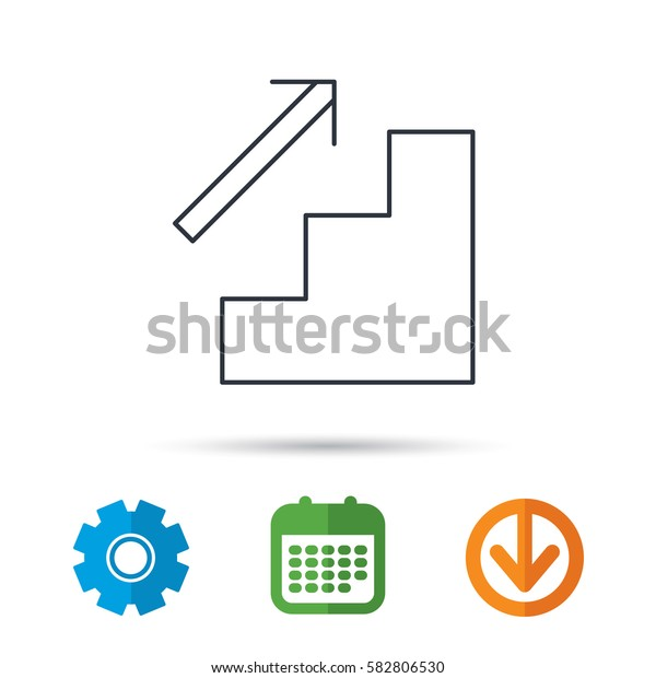 Upstairs icon. Direction arrow sign. Calendar, cogwheel and download arrow signs. Colored flat web icons. Vector