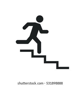 Upstairs icon sign. run man in the stairs. exit - black vector illustration. flat design.