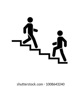 Upstairs-downstairs icon sign. Walking man in the stairs. Career symbol. flat design. Vector illustration.