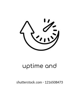 Uptime and downtime icon. Trendy modern flat linear vector Uptime and downtime icon on white background from thin line Technology collection, editable outline stroke vector illustration