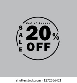 Upto 20% OFF Special Offer Ad. Discount Promotion Sale Banner, Vector Banner. Price Discount Offer. Season Sale Promo Sticker colorful black typography in grey background.