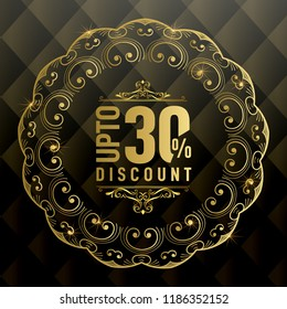 Upto 30% OFF Discount Promotion Sale Banner, Special Offer Ad.  Vector Banner. Price Discount Offer. Season Sale Promo Sticker colorful golden typography in black background.