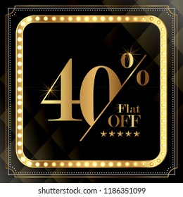 upto 40% OFF Discount Promotion Sale Banner, Special Offer Ad.  Vector Banner. Price Discount Offer. Season Sale Promo Sticker colorful golden typography in black background.