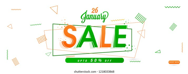Upto 50% discount offer, sale banner or header decorated with abstract elements for 26 January celebration.