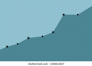 Upward growth trend of business or organization on blue graph background vector illustration