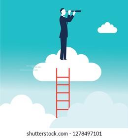 Upwards. Businessman standing on a cloud. Concept business illustration - Vector