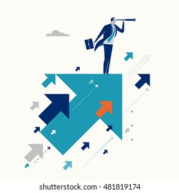 Upwards. Businessman standing on a flying arrows. Concept business illustration