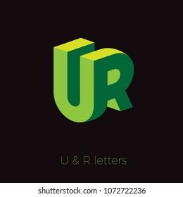 UR logo. U and R letters. Green emblem like 3D.
