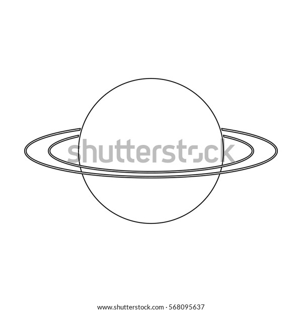 Uranus icon in outline style isolated on white background. Planets symbol stock vector illustration.