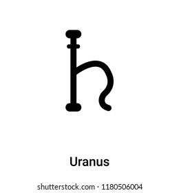 Uranus icon vector isolated on white background, logo concept of Uranus sign on transparent background, filled black symbol