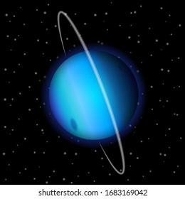 Uranus illustration on a starry background