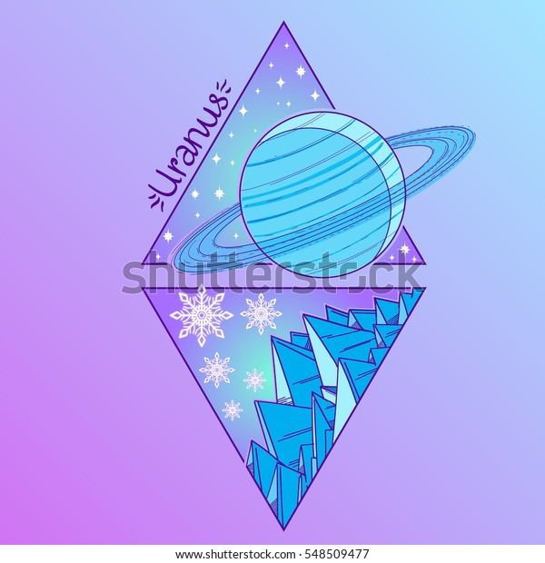 Uranus Planets Stars Solar System Symbols Stock Vector