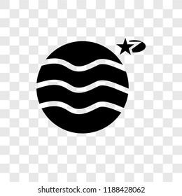 Uranus with Satellite vector icon isolated on transparent background, Uranus with Satellite transparency logo concept