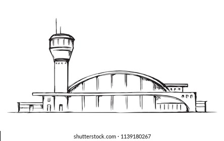 Urban airfield port observation house on white field. Freehand outline black hand drawn jet avia trip aerodrome gate design logo sketchy in modern doodle cartoon style pen on paper with space for text