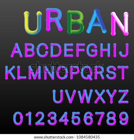 urban alphabet font template 3d letters and numbers two gradients colors easy recoloring vector