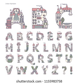 Urban alphabet of the urban landscape using elements of architecture and plants. Suitable for typography, enlivening the text with a capital letter.