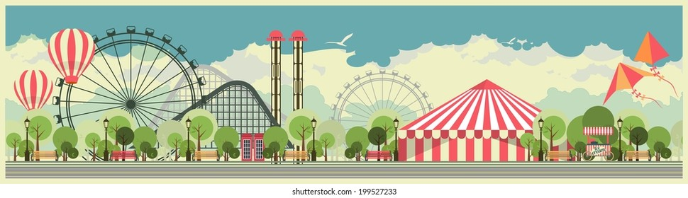 urban amusement park circus tent roundabouts in the sky kites and balloons for large format printing