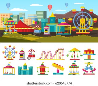 Urban amusement park concept with ticket window street food store different attractions and carousels isolated vector illustration