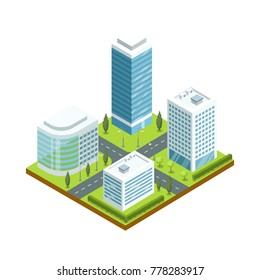 Urban architecture 3d isometric icon. Skyscrapers with shiny glass facades, city streets with green decorative plants vector illustration.
